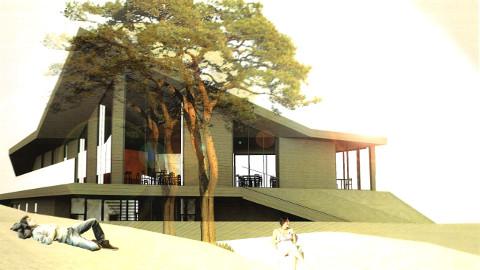 Kauksi rannahoone eskiislahenduse autorid on Toomas Adrikorn ja Margit Aule (OÜ KAOS Arhitektid).