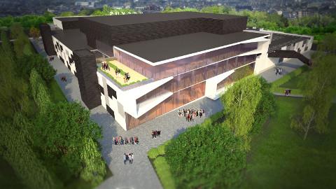 Selline peaks Jõhvi pargikeskus eskiisprojekti järgi välja nägema kontserdimaja poolt vaadatuna.