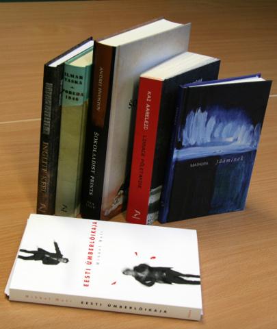"""Tänavused Virumaa kirjandusauhinna kandidaadid (fotolt puudub """"Uinuv maa"""", mis oli välja laenutatud)."""